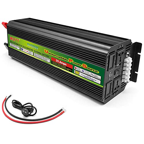 Wechselrichter 500W / 1000W / 1500W / 2000W / 3000W / 5000W Reiner Sinus Spannungswandler DC 12V/24V Auf AC 230V Umwandler - Power Inverter Konverter mit Steckdose und USB-Anschluss,5000W-12V