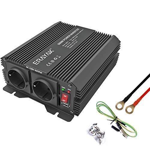 ERAYAK Wechselrichter 600W (Spitzenleistung 1200W), Spannungswandler, Transformator, Stromwandler für 12V auf 220V Inverter, mit 2 AC-Steckdosen und 5V 2.1A USB.