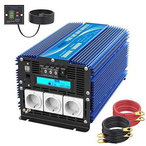 3000W Reiner Sinus Wechselrichter 12V DC auf 230V AC Spannungswandler Power Inverter mit 3 AC Steckdosen Dual 2.4A USB-Anschlüsse Fernbedienung & LCD-Bildschirm für Wohnmobil von GIANDEL