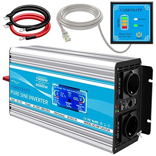 CARRYBATT Wechselrichter Reiner Sinus 1000W Spannungswandler DC 12V zu AC 230V Wandler mit 5-Meter-Fernbedienung mit doppeltem Wechselstromausgang mit LCD-Anzeige/Bildschirm