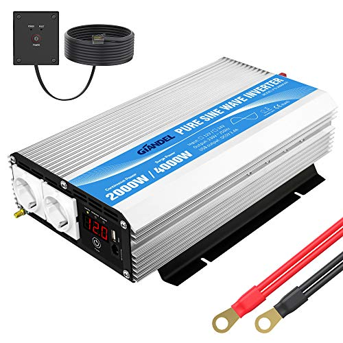 Wechselrichter 12V auf 230V Reiner Sinus 2000W Spannungswandler Umwandler-Inverter mit 2 EU-Steckdosen Fernbedienung 2.4A USB und LED-Anzeige Für Wohnmobil Wohnwagen GIANDEL