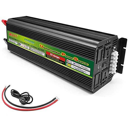 FSCLJ Reiner Sinus Wechselrichter 5000W (Peak 10000W), Spannungswandler DC 12V / 24V auf AC 222V, Autoladeadapter mit LED-Anzeige und USB Anschluss