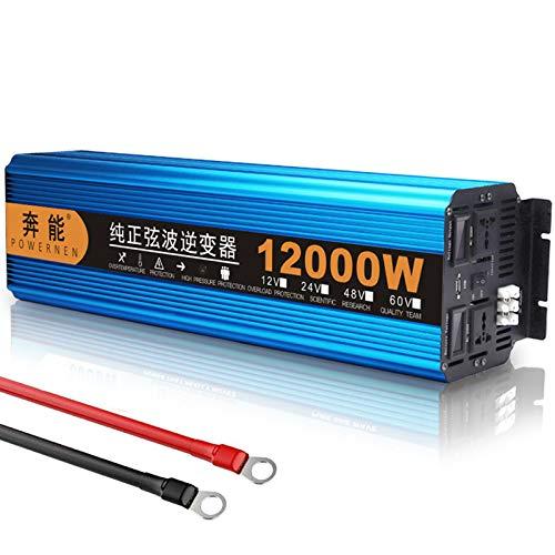 ZH-VBC Wechselrichter Reiner Sinus 24V/48V Auf 230V, Spannungswandler 6000W/12000W Auto Inverter Konverter Umwandler für Kühlschränke, Mikrowellen, Kettensägen, Staubsauger, Elektrowerkzeuge,48V
