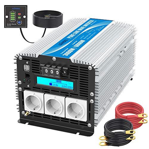 Reiner Sinus Wechselrichter 3000W DC 12V auf AC 230V Spannungswandler Power Inverter mit LCD-Bildschirm und Fernbedienung 2X 2.4A USB und 3X AC Steckdosen für Wohnmobil GIANDEL