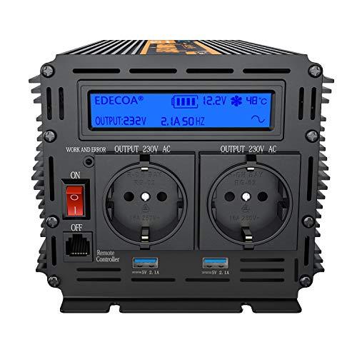 Spannungswandler 12v 230v Wechselrichter 1500w Spannungswandler reiner sinus Bildschirm LCD mit Fernbedienung