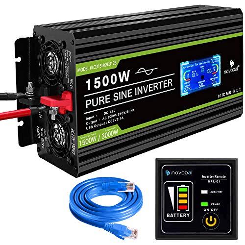 novopal® Spannungswandler12V auf 230V 1500W/3000W Reiner Sinus Wechselrichter -Inverter Konverter mit 2 EU Steckdose und 2.1A USB-Port - inkl. 5 Meter Fernsteuerung mit LCD Bildschirm