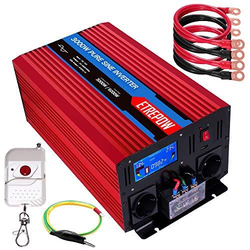 Spannungswandler 12v Auf 230v Reiner Sinus 3000w ETREPOW Wechselrichter mit 2 EU-Steckdose und Einer 2,1A USB,Drahtlose Fernsteuerung,Digital Anzeige und 2 Lüftern-Spitzenleistung 6000w Kfz Konverter