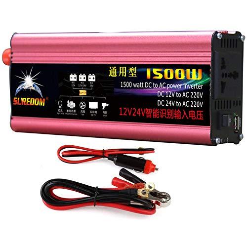 HPDOW 1500W(Spitze 3000W) Reiner Sinus Spannungswandler Wechselrichter 12V/24V auf 230V Konverter Pure Sine Power Inverter mit USB-Ladeanschluss und Direktanschluss an Autobatterie,24V
