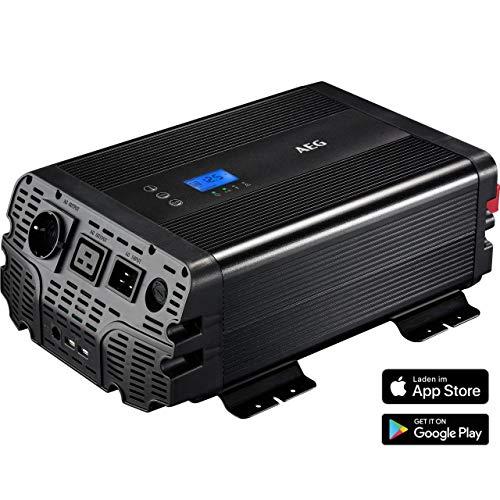 AEG Automotive 10062 Sinus Spannungswandler Inverter 1500 Watt 12 Volt auf 230 Volt mit App-Steuerung, Netzvorrangschaltung, Lüftersteuerung