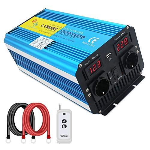 3000W KFZ Reiner Sinus Spannungswandler - Auto Wechselrichter 12v auf 230v Umwandler - Inverter Konverter mit 2 EU Steckdose und USB-Port - Fernsteuerung - Spitzenleistung 6000 Watt