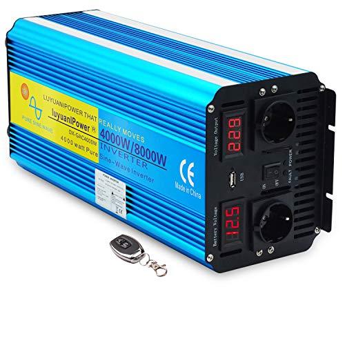 Spannungswandler 4000W 12V 230V Reiner Sinus Wechselrichter Fernbedienung 2 LED Power Inverter 2 Steckdose und USB /8000W Stoßkraft