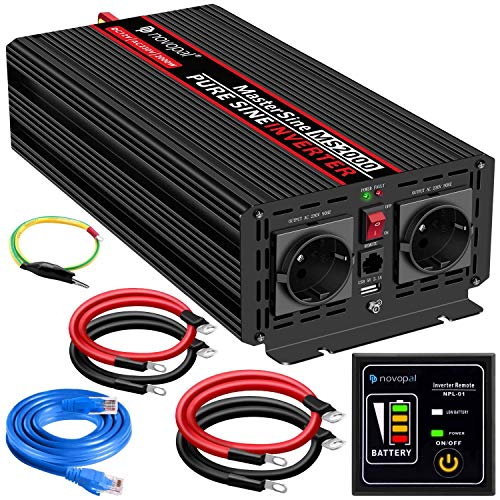 2000W KFZ Reiner Sinus Spannungswandler - Auto Wechselrichter 12v auf 230v Umwandler - Inverter Konverter mit 2 EU Steckdose und USB-Port - inkl. 5 Meter Fernsteuerung - Spitzenleistung 4000 Watt