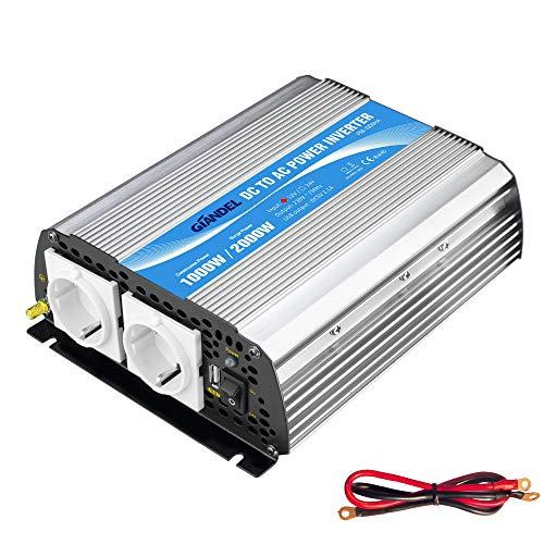 1000W Modifizierter Sinus Wechselrichter Spannungswandler 12V auf 230V Power Inverter,mit EU-Steckdosen & 2.4A USB-Anschluss for RV Auto Hausgebrauch Auto Giandel