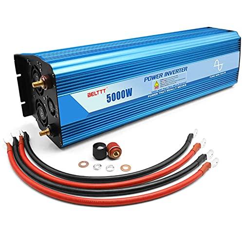 FHISD Auto-Wechselrichter Sinus-Wechselrichter 48v 5000W Peak 10000W DC 12V/24V zu 220V 230V 240V AC Konverter mit LED-Anzeige USB-Anschluss für Wohnwagen Campingboot 24V-110V-10000W