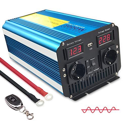 Yinleader Spannungswandle 3000W/6000W 12V 230V Reiner Sinus Wechselrichter Fernbedienung LED+LCD Power Inverter mit 1 Steckdose und LCD-Display, für Auto, Wohnwagen, Boot, Camping, Reisen