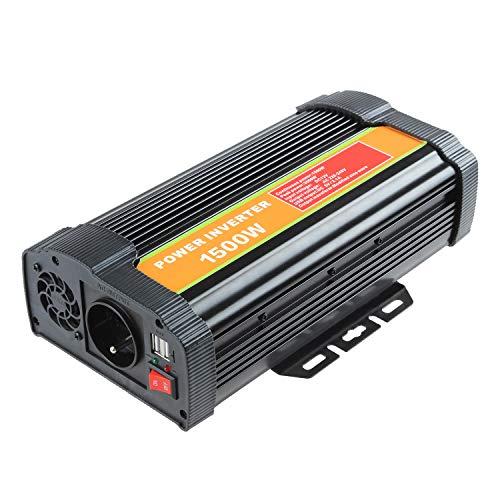 Decdeal KFZ Inverter Wechselrichter Reiner Sinus 1500W DC 12V Zu AC 110V-120V 220V-240V KFZ Inverter Mit 2.1A Dual USB Port