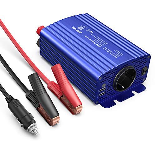KFZ Wechselrichter 500W, BESTEK Spannungswandler DC 12V auf AC 230V mit 2 USB, inklusive Zigarettenanzünder stecker und Autobatterieclips, 2 Austauschbare Sicherungen, Blau