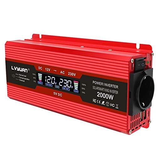 Yinleader Spannungswandler 1000W 12V 230V Wechselrichter Dual USB Power Inverter mit 1 Steckdose und LCD-Display