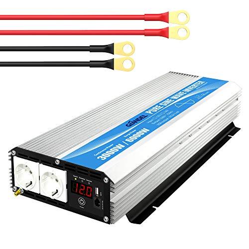 3000W Wechselrichter 12V auf 230V Reiner Sinus Spannungswandler Umwandler-Inverter Konverter mit Fernbedienung LED-Anzeige 2 EU-Steckdosen & 2.4A USB-Anschluss für Wohnmobil-LKW GIANDEL