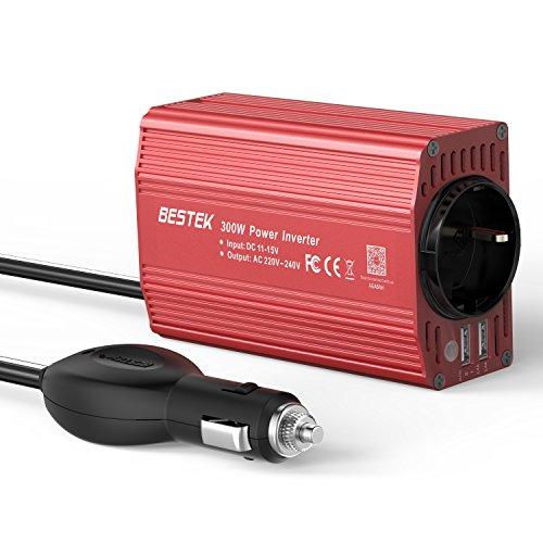 Spannungswandler 12V auf 230V,300W Wechselrichter,BESTEK KFZ Inverter mit TÜV Zertifiziert und 2 USB Anschlüsse inkl. Kfz Zigarettenanzünder Stecker,Autobatterieclips Rot