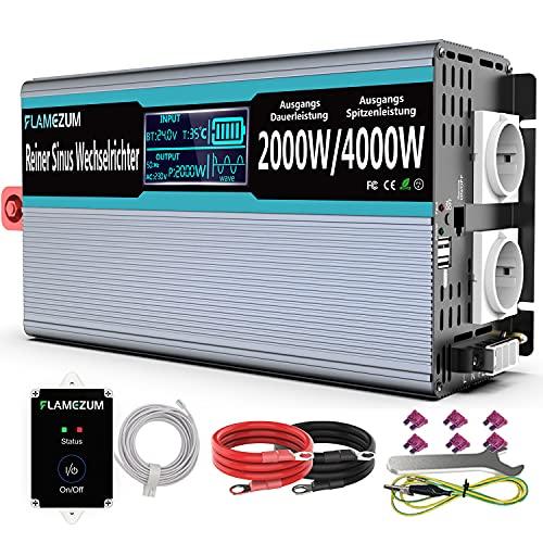 24V Reiner Sinus Wechselrichter 2000W Reiner Sinus Spannungswandler 24V auf 230V Wechselrichter Konverter mit Zwei AC-steckdosen und Zwei 2.4A USB Port,mit Fernbedienung und Intelligentes Display