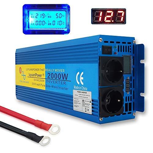 Yinleader Spannungswandler 2000W/4000W 12V 230V Reiner Sinus Wechselrichter LED+LCD Power Inverter mit 2 Steckdose und LCD-Display, für Auto, Wohnwagen, Boot, Camping, Reisen