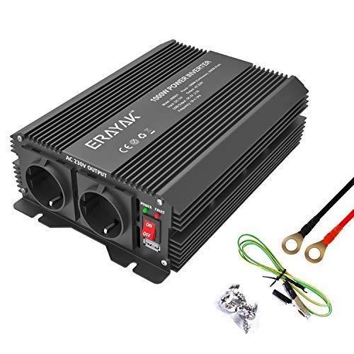 ERAYAK Wechselrichter 1000W (Spitzenleistung 2000W), Spannungswandler, Transformator, Stromwandler für 12V auf 230V Inverter, mit 2 AC-Steckdosen und 5V 2.1A USB.