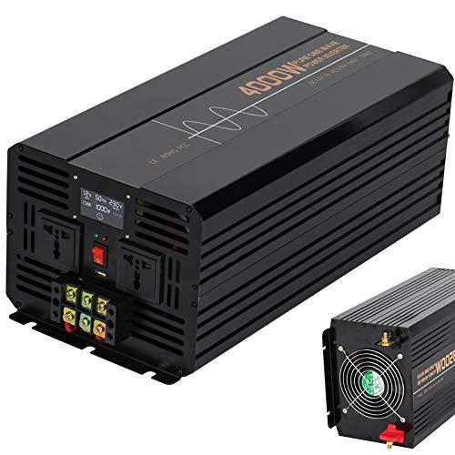 4000W Reiner Sinus Spannungswandler DC 12V/24V auf 220V 230V AC Wechselrichter USB Wohnmobil 8000W (Peak) Konverter Solar Stromwandler Auto mit USB-Ports Power Inverter,12Vto220V