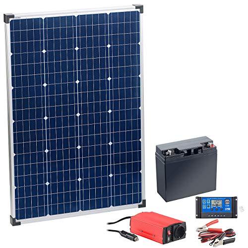 reVolt Solar Insel: 110-Watt-Solarpanel mit Blei-Akku, Laderegler und Wechselrichter (Solaranlage Garten)
