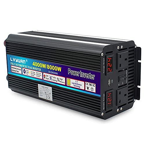 LUOQI wechselrichter 12v auf 230v Reiner Sinus 4000w spannungswandler mit 2 Steckdose und 1 USB LED Spannungsanzeige/Stoßleistung 8000W Kfz konverter