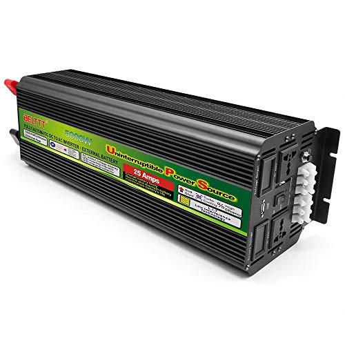 FCX-SHEARS Wechselrichter Konverter 5000W (Peak 10000W), Reiner Sinus Wechselrichter, DC 12V / 24V auf AC 220V Spannungswandler, Autoladeadapter mit USB Anschluss und LED-Anzeige,24Vto220V