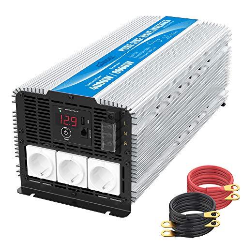 GIANDEL 4000W Heavy Duty Reiner Sinus Wechselrichter Spannungswandler 12V auf 230V mit 3 Steckdosen mit Fernbedienung 2.4A USB und LED-Anzeige