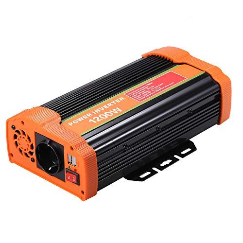 Decdeal Wechselrichter Reiner Sinus 1200w DC 12V Auf AC 110V-120V 220V-240V KFZ Inverter Mit 2.1A Dual USB Port