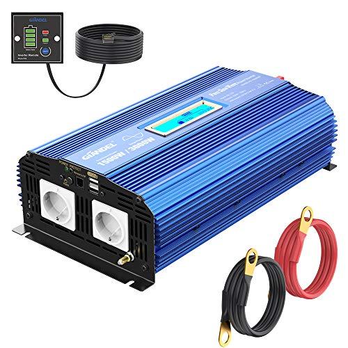 Reiner Sinus Wechselrichter 1500W Spannungswandler 12V auf 230V Power Inverter mit 2 AC-Steckdosen 2x2.4A USB-Anschlüsse Fernbedienung und Bildschirm LCD für Wohnmobil von GIANDEL
