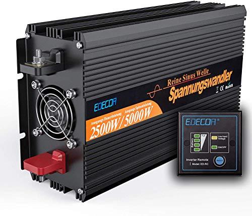 EDECOA Wechselrichter Reiner Sinus 2500w Spannungswandler 12v 230v mit Fernbedienung 2X USB Spannungswandler 2500w Stromumwandler Power Inverter KFZ