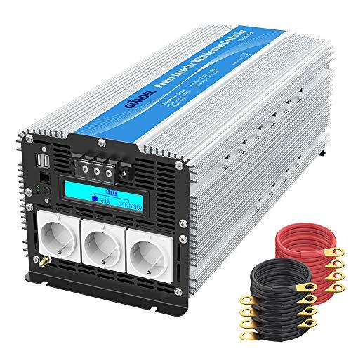 5000W Schwerlast Modifizierter Sinus Wechselrichter 12V auf 230V Spannungswandler Power Inverter Konverter mit LCD Bildschirm 3 EU-Steckdosen Dual USB-Anschlüsse & Fernbedienung für Wohnmobile GIANDEL