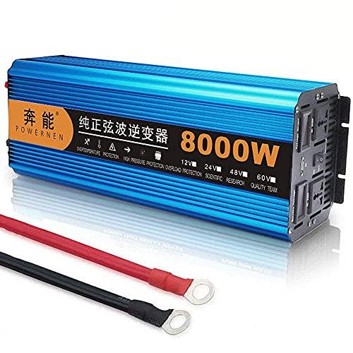 Spannungswandler 4000W Spitzenleistung 8000W, Reiner Sinus Wechselrichter DC 12V 24V auf AC 220V, mit USB LED Anzeige und Zwei Steckdose, Inverter Konverter
