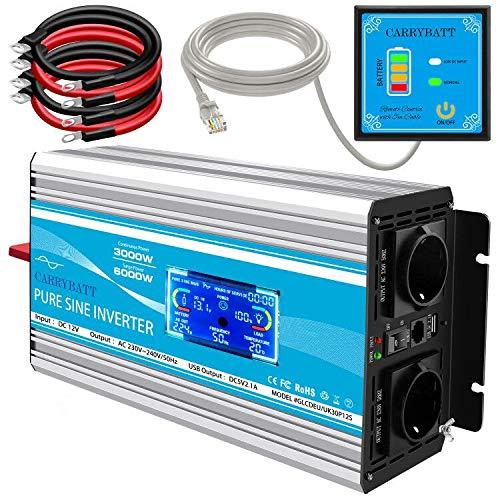 CARRYBATT 3000W/6000W Reiner Sinus Spannungswandler 12V auf 230V kfz Sinus Wechselrichter mit 1 USB Ports,Fernsteuerung,2 steckdoses & LCD Anzeige,Kabel - Inverter Pure Sine Wave