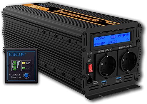 EDECOA Spannungswandler 12v 230v Wechselrichter 3000W mit Fernbedienung, LCD und 2X USB Wechselrichter 12v 230v modifizierte Sinus 3000w und 6000w Spitze