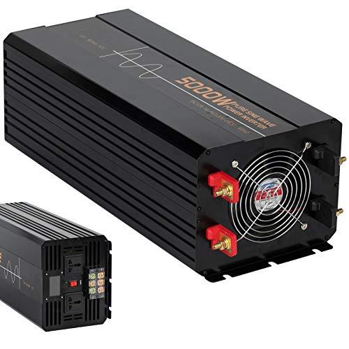 Spannungswandler 5000W/10000W Reiner Sinus Auto Wechselrichter DC 12V/24V auf 220V 230V AC Konverter mit 2 X Steckdosen und USB, für Den Mobilen Anschluss Von Haushaltsgeräten,12Vto220V