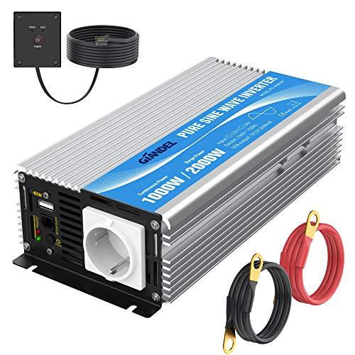 Wechselrichter 12V auf 230V Reiner Sinus 1000W KFZ Spannungswandler Umwandler-Inverter Konverter mit Fernbedienung EU-Steckdose & 2.4A USB-Anschluss GIANDEL