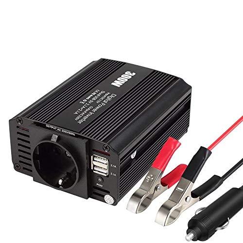 eLinkSmart 300W Kfz-Wechselrichter Spannungswandler DC 12V auf AC 230V Inverter mit EU-Steckdose und 2 USB 2.1A Anschlüsse inklusive Kfz Zigarettenanzünder Stecker Autobatterieclips