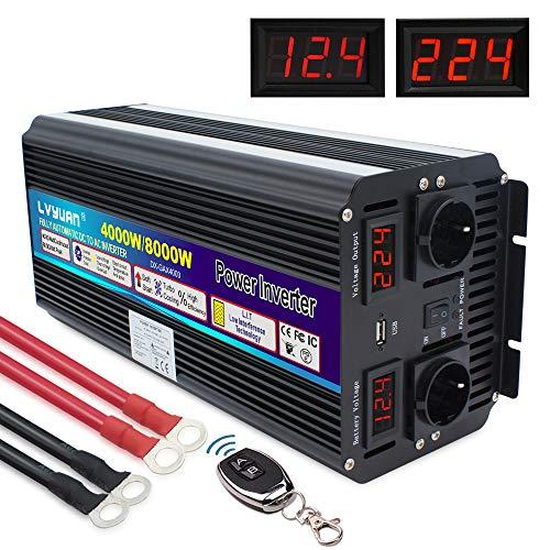 Spannungswandler 4000W 12V 230V Wechselrichter mit drahtloser Fernbedienung Power Inverter mit 2 Steckdose 1 USB und LED-Display, für Auto, Wohnwagen, Boot, Camping, Reisen /8000W Stoßleistung