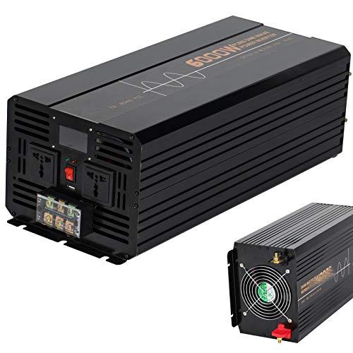 Spannungswandler 6000W/12000 Watt - Wechselrichter DC 12V/24V auf 220V 230V AC Reiner Sinus Umwandler - Inverter Konverter mit Universal Steckdose und 2 USB- Stromwandler Auto,12Vto220V
