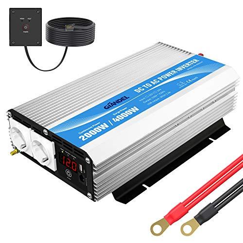 2000W Modifizierter Sinus Wechselrichter 12v auf 230v Spannungswandler Power Inverter mit Fernbedienung und LED-Anzeige 2 AC Steckdosen & USB mit Grosse Hülle für Wohnmobil GIANDEL
