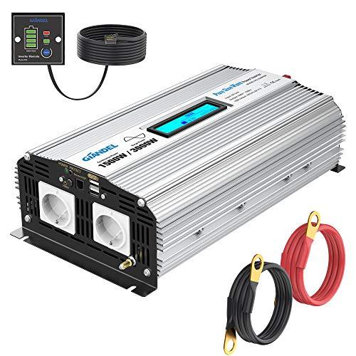 GIANDEL 1500W Reiner Sinus Wechselrichter DC 12V auf AC 230V Spannungswandler Power Inverter mit 2.4A Doppelte USB-Anschlüsse und Fernbedienung und LCD-Anzeige für Wohnmobil-LKW