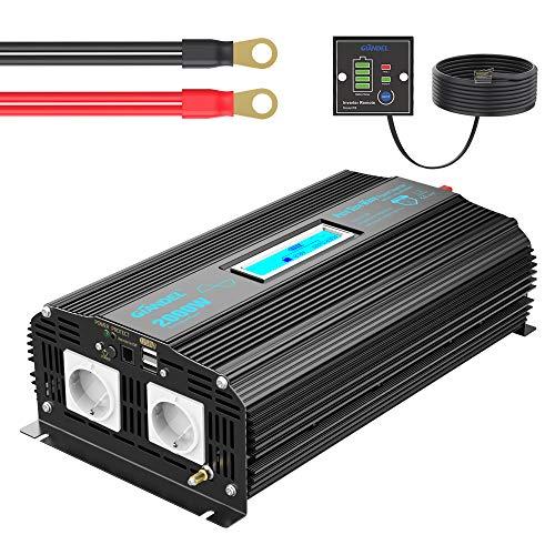 Reiner Sinus Wechselrichter 2000W DC 12V auf 230V AC Spannungswandler Power Inverter mit Zwei AC-Steckdosen und 2x2.4A USB-Anschlüssen & Bildschirm LCD Fernbedienung für Wohnmobil Trucks GIANDEL
