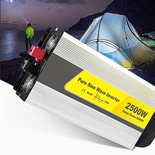 SATSAT Reiner Sinus-Wechselrichter, 2500W DC 12V/24V zu AC 220V Spannungswandler, Peak 5000W Spannungswandler Solarstrom-Inverter, Dual Lüfter, Mehrfachschutz,12V