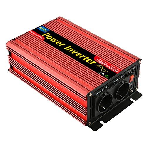 5 Meter Fernsteuerung 2500W KFZ Reiner Sinus Spannungswandler inkl Inverter Konverter mit 2 EU Steckdose und USB-Port Spitzenleistung 5000 Watt Auto Wechselrichter 12V auf 230V Umwandler