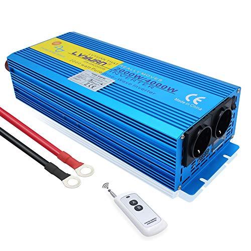 Cantonape Spannungswandler 2000W 12V 230V Reiner Sinus Wechselrichter Power Inverter mit 2 Steckdose und LED+LCD Display